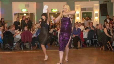 Comperes Camille Ucan as Claudia Winkleman and Miles Chapman getting into character as Tess Daly. Pi