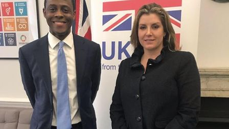 Hitchin & Harpenden MP Bim Afolami with Secretary of State for International Development Penny Morda