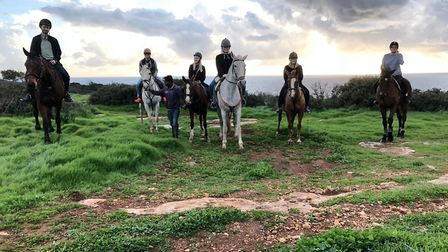 Horse riding with the group at George's Ranch in Peyia with Elvis (far left). Picture: George's Ranc