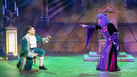 Matt Lapinskas as Prince Simon and Hannah Jane Fox as Queen Narcissia in Stevenage pantomime Snow Wh