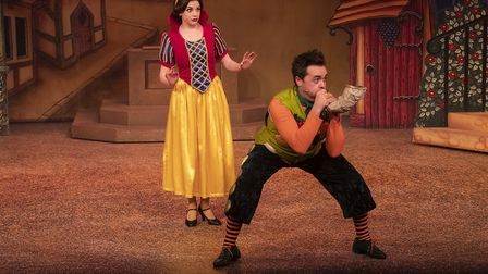 Hannah Boyce as Snow White and Aidan O'Neill as Herbie the Huntsman in Stevenage pantomime Snow Whit
