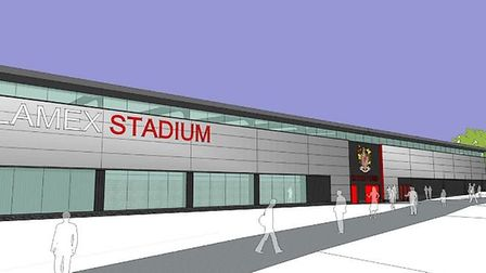 An artists impression of the new Stevenage North Stand