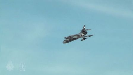 Andy Hill's Hawker Hunter jet shortly before the crash. Picture: CPS