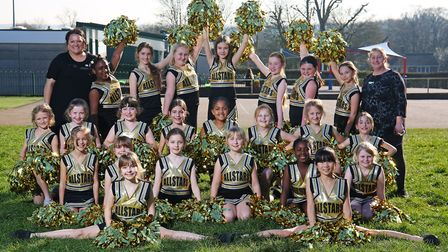 The Ashtree Allstars senior cheerleaders with Natalie Foley (left) and Tracie Swallow (right). Pictu