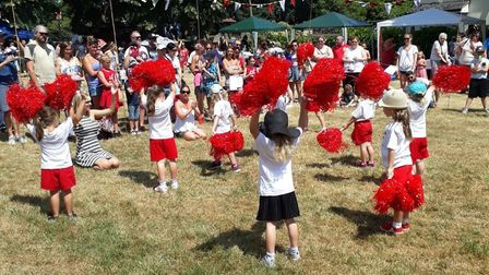 Camps Hill Primary School cheerleaders have been nominated for a Comet Community Award. Picture: Tar