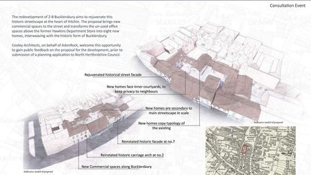 Architectural plans for the former Hawkins of Hitchin department store. Picture: Cooley Architects
