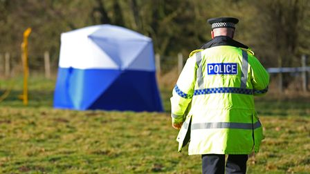 Police on the scene in Charlton where the body of William Taylor was found. Picture: DANNY LOO