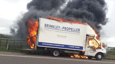 A lorry caught fire on the A1(M) yesterday. Picture: Suzanne Vernon