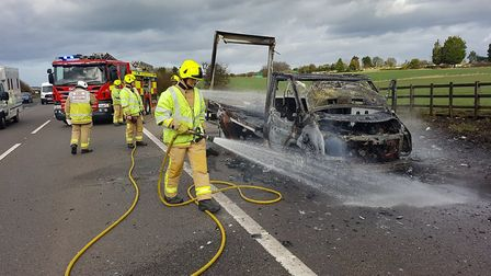 A 3.5 tonne lorry caught fire on the A1(M) this afternoon. Picture: Twitter @roadpoliceBCH