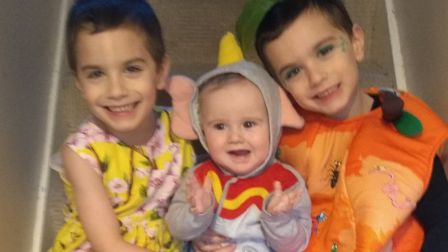 Daniel, Oscar and Theodore ready for World Book Day. Picture: Charis Bailes
