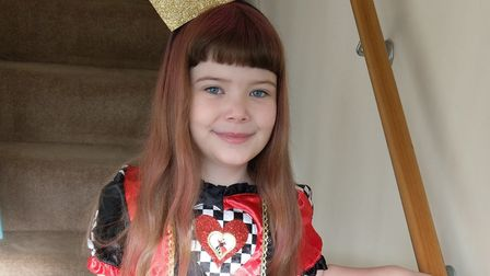 Eden Walsh dressed as the Queen of Hearts from Alice in Wonderland, ready for World Book Day at Lodg
