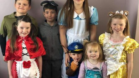 Poppy, 11, eight-year-olds Ollie and Grace, Charlotte and Lenny aged 7 and two-year-olds Teddy and R