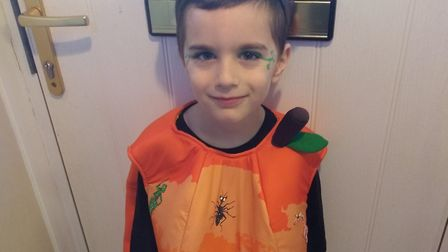 Theodore Bovington dressed as the peach from James and the Giant Peach for World Book Day. Picture: