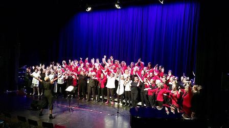 Stevenage Ladies Choir and As One Community Choir performing at St Christopher School. Picture: Tere