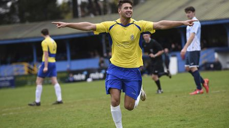 Michael Thalassitis wheels away after scoring during his time at St Albans City. Picture: Bob Wakele