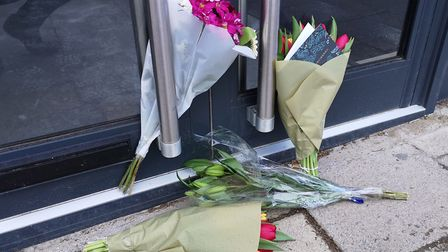 Floral Tributes left outside the cafe in Loughton that Mike Thalassitis planned to open before he wa