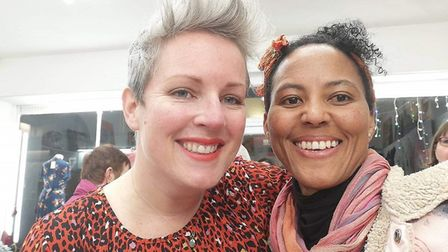 Hitchin Food Rescue Hub founder Emma Ince Goulding (left) with Aletheia Mashiri from Getting Rooted