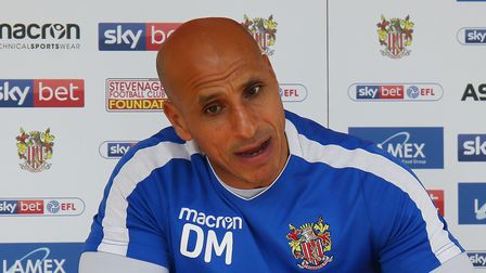 Manager of Stevenage FC Dino Maamria speaks to The Comet's Layth Yousif before the League Two game a