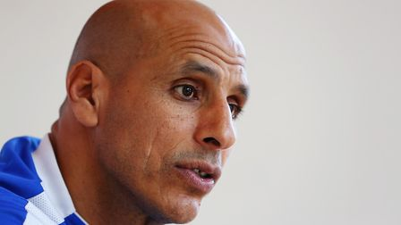 Manager of Stevenage FC Dino Maamria speaks to Layth Yousif. Picture: DANNY LOO