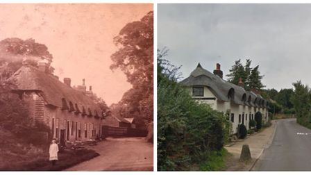 Great Wymondley's Hornbeam Cottages in 1900 and now. Picture: Wymondley Scrapbook & Google Maps