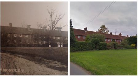 Great Wymondley's Church Green Cottages in 1870 and now. Picture: Wymondley Scrapbook & Google Maps