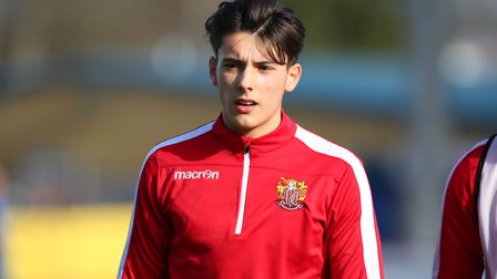 Arthur Iontton of Stevenage before the League Two game between Stevenage FC v Bury at the Lamex Stad
