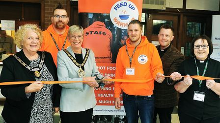 Cutting ribbon, left to right; Mayoress Cllr. Laurie Chester, Daniel Allen, mayor of Stevenage Cllr