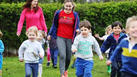 York Road Nursery head teacher Diane Frainer takes part in a charity run with the children to raise