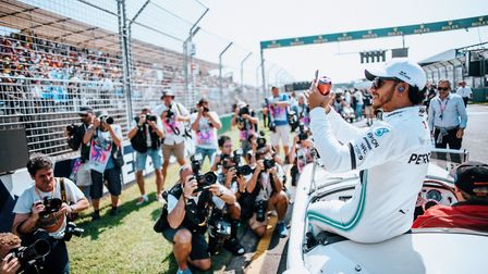 Lewis Hamilton laps up the atmosphere at the 2019 Australian Grand Prix. Picture: Paul Ripke for Mer