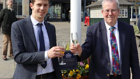 Hitchin's departing town centre manager Keith Hoskins (right) will be replaced by Tom Hardy. Picture