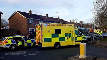 Police, ambulance and the air ambulance were at the scene of a crash today in Broadwater Crescent, S