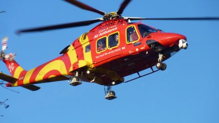 An air ambulance attended a crash in St George's Way, Stevenage. Picture: Chris Mackriell.