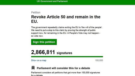 At time of publishing, the 'Revoke Article 50' petition had nearly 3 million signatures. Picture: Pa