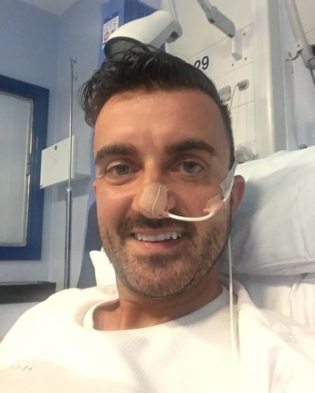 Chris was fitted with a tube that was fed through his nose, but now has a feeding tube in his abdome
