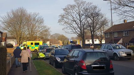 A car and a motorcycle were involved in a crash at Broadwater Crescent, Stevenage. Picture: Paul Hoe