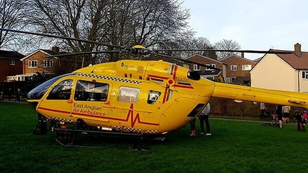 An air ambulance landed nearby following the crash in Broadwater Crescent, Stevenage. Picture: Paul
