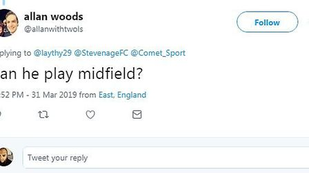 A Stevenage fan comments on the story on social media