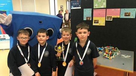 Round Diamond Primary School pupils with their trophy and medals. Picture: IET.