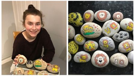 Letchworth's Abbie Shafe, 14, has painted lion-themed rocks to raise funds for The Big Cat Sanctuary