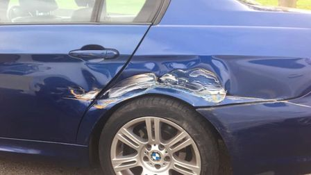 Damage caused to cars near the CALA Homes development in Lucas Lane. Picture: Hugh Palmer