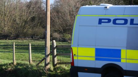 Police on the scene in Charlton after the body of a man was found in a river. Picture: DANNY LOO