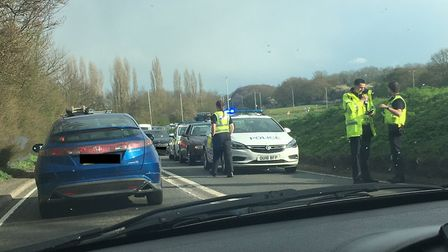 Police are directing traffic on the A602 near Stevenage. Picture: supplied.