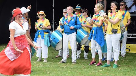 The Letchworth Garden City Samba Band at Proms in the Park, the culmination of the Letchworth Festiv