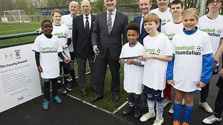 FA chairman Greg Clarke opening the new pitch at Herfordshire FA's Letchworth home. Picture: Jody Ki