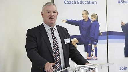 FA chairman Greg Clarke speaking after the opening of Herfordshire FA's new 3G pitch. Picture: Jody