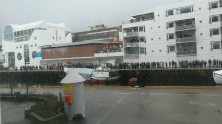 Crowds welcome the Viking Sky cruise ship into port at Molde, Norway. Picture: Robert Slater
