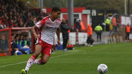Terence Vancooten of Stevenage on the ball in the League Two game between Stevenage FC v Colchester