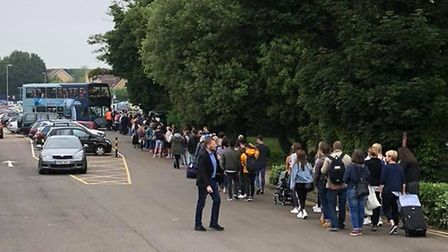 Commuters waiting in line for a replacement bus at Royston, a familiar sight last summer after the M