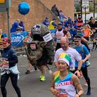 Hitchin's Dave Wardle running the London Marathon in his rhino costume. Picture: Laura Dunn