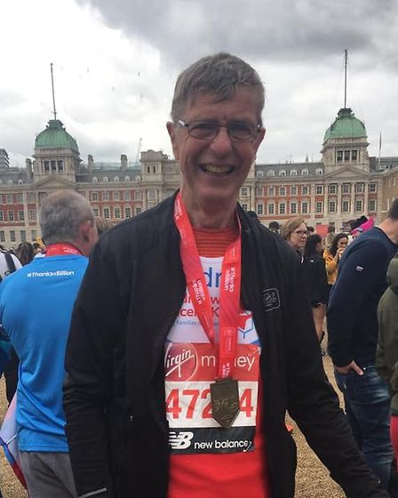 71-year-old Andrew Porter completed the London Marathon on Sunday in aid of Children with Cancer UK.